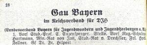 Vorstand des Gau Bayern im Reichsverband für DJH, Januar 1933